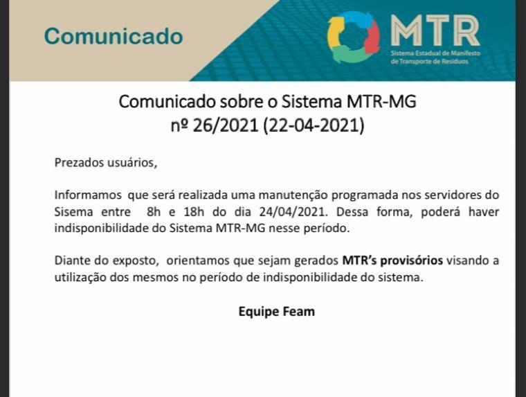 ATENÇÃO! MTR-MG E SISTEMAS DO SISEMA FICARÃO FORA DO AR